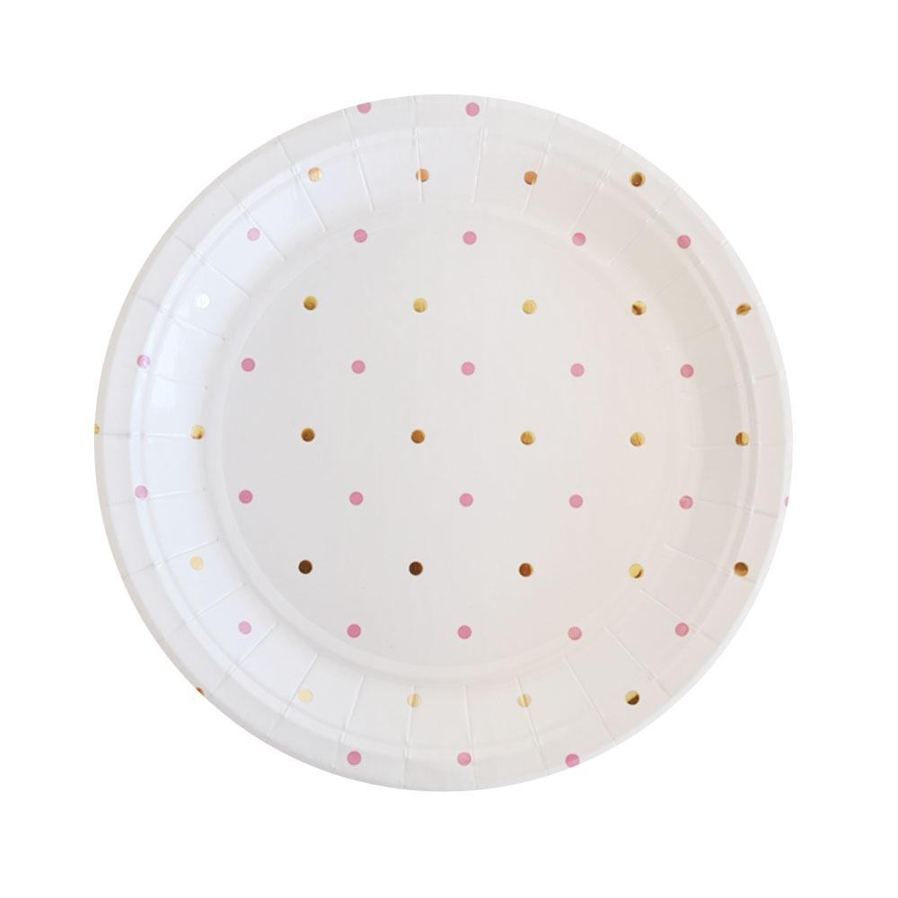 Gold and Pink Spot Plate - 10 Pack-Oh My Party