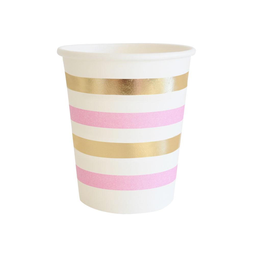Gold and Pink Stripe Cup - 10 Pack-Oh My Party