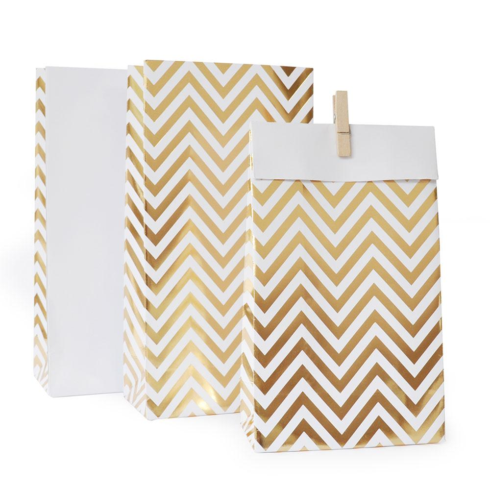 Gold Chevron Lolly Bag - 10 Pack-Oh My Party