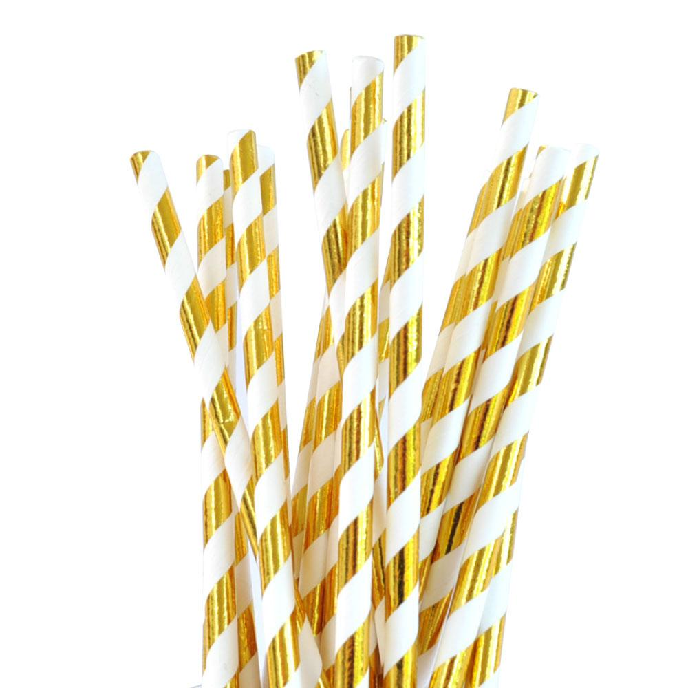 Gold Foil Striped Straw - 25 Pack-Oh My Party