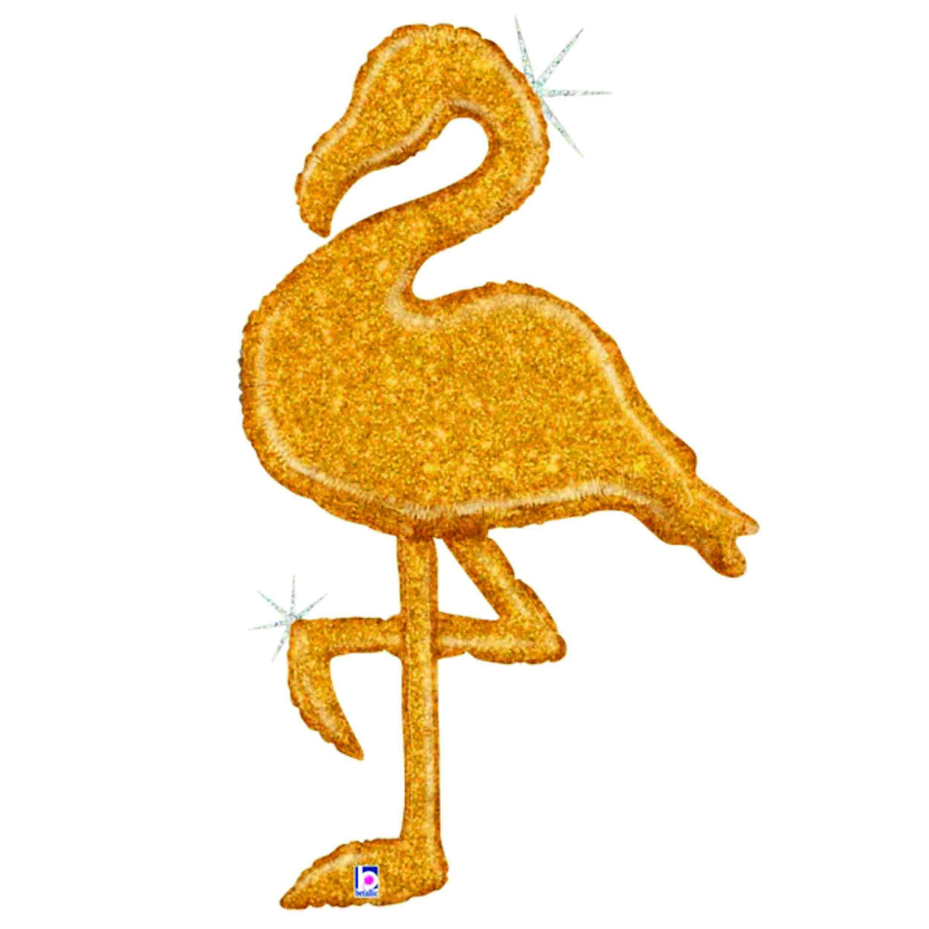 Gold Glitter Flamingo-Balloon-Oh My Party