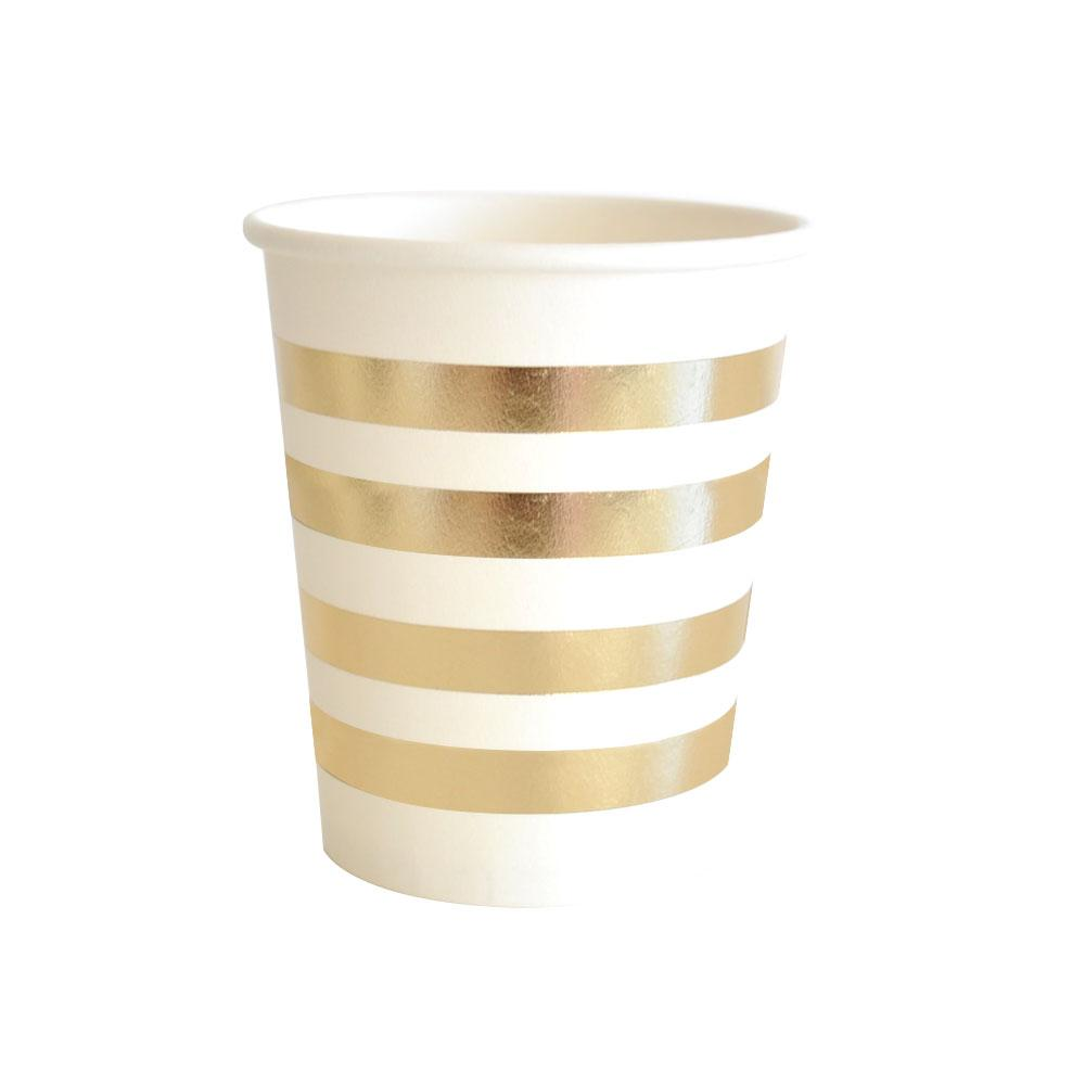Gold Stripe Cup - 10 Pack-Oh My Party