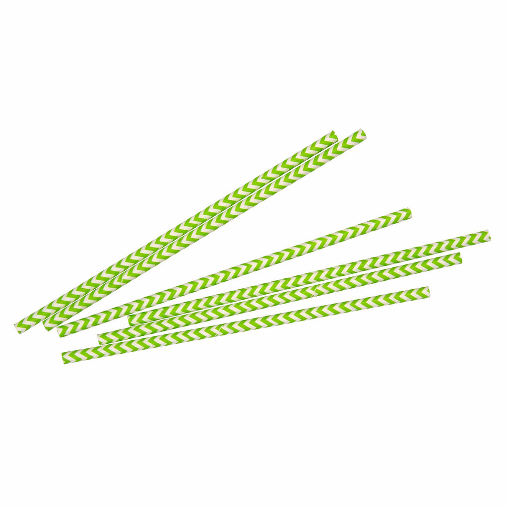 Green Chevron Straw - 25 Pack-Oh My Party