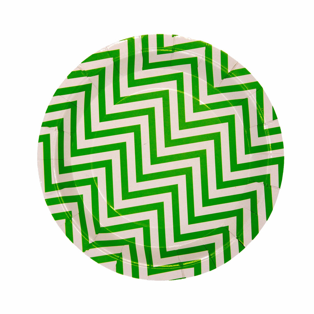 Green Pattern Plate - 12 Pack-Oh My Party