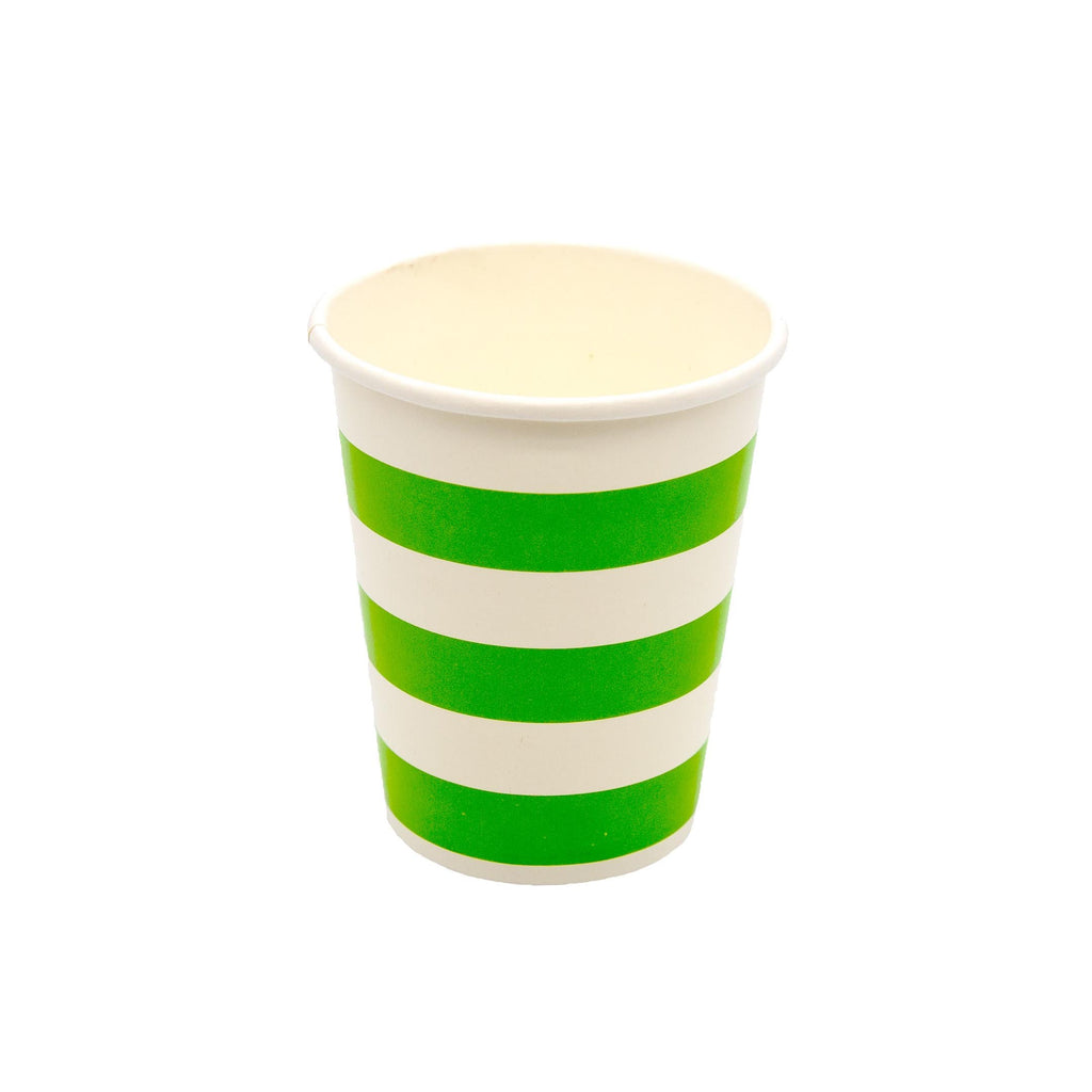 Green Stripe Cup - 10 Pack-Oh My Party
