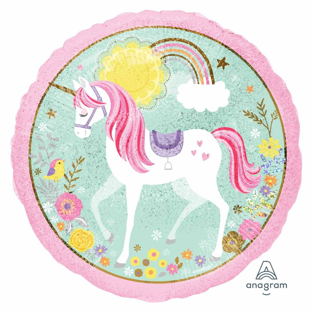 Holographic Unicorn Round Foil Balloon-Oh My Party