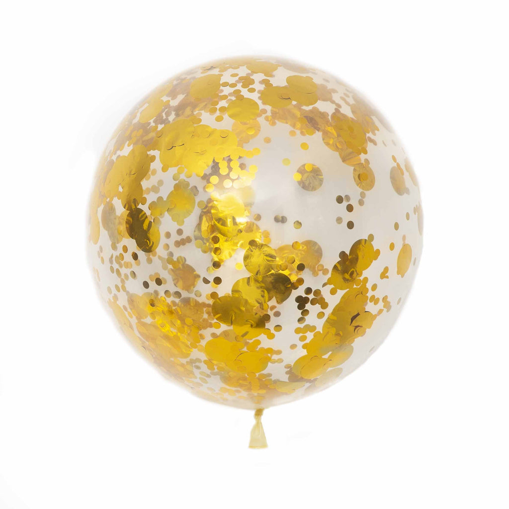 Large Clear Assorted Confetti Filled Latex Balloon-Oh My Party