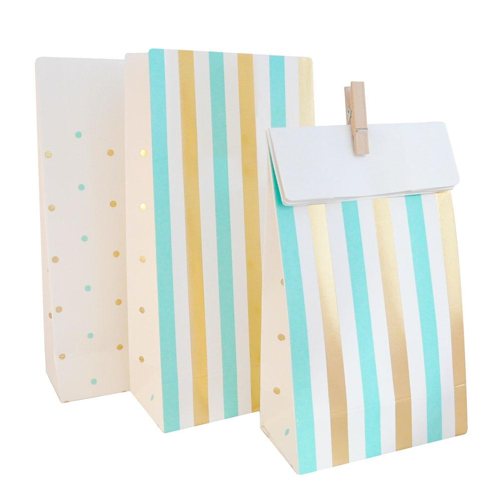 Mint and Gold Spots and Stripes Lolly Bag - 10 Pack-Oh My Party