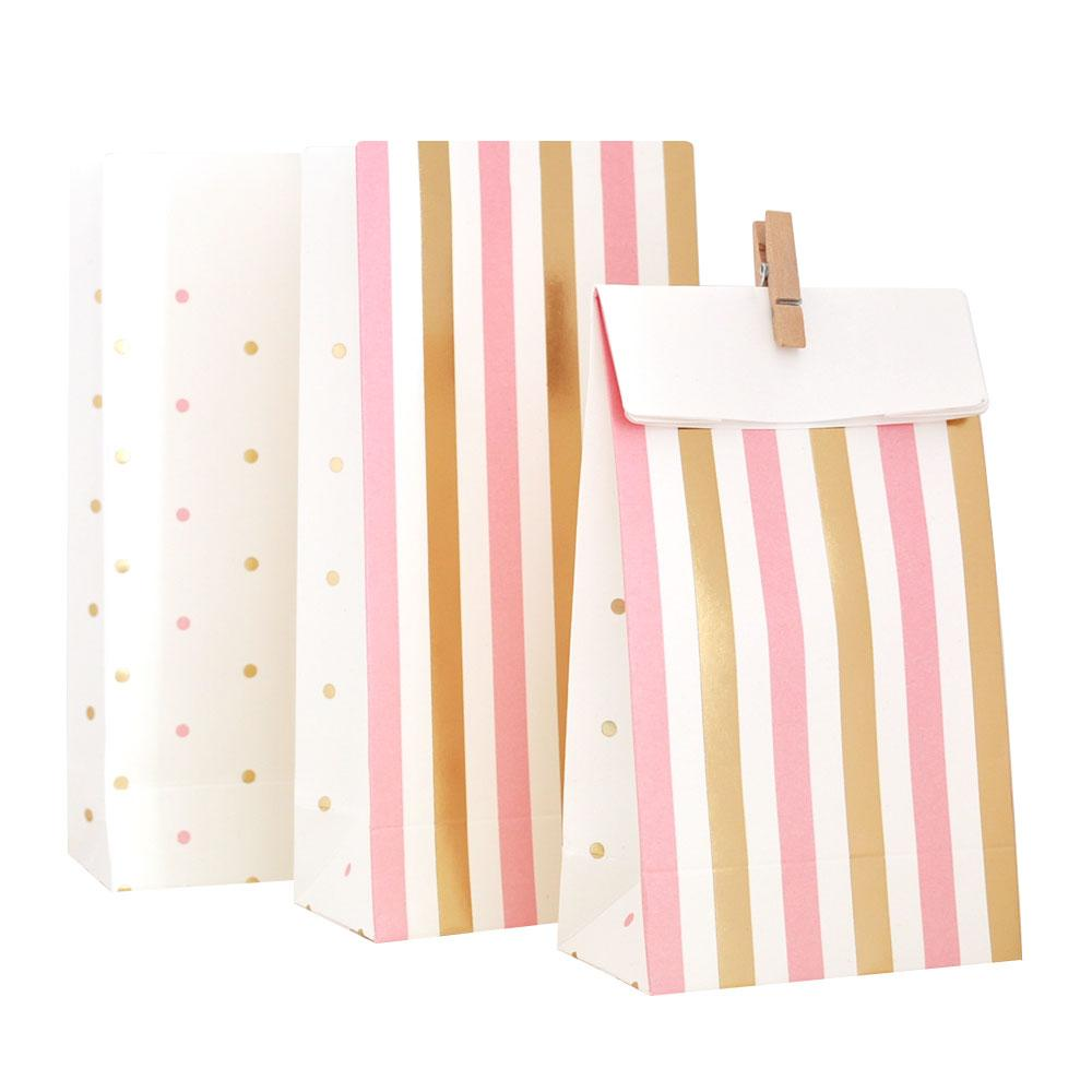 Pink and Gold Spots and Strips Lolly Bag - 10 Pack-Oh My Party