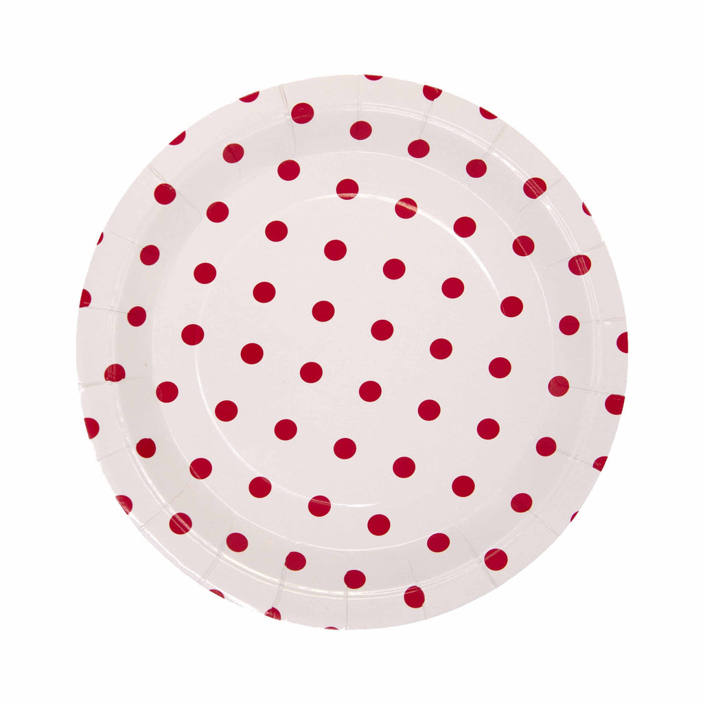 Red Pattern Plate - 12 Pack-Oh My Party