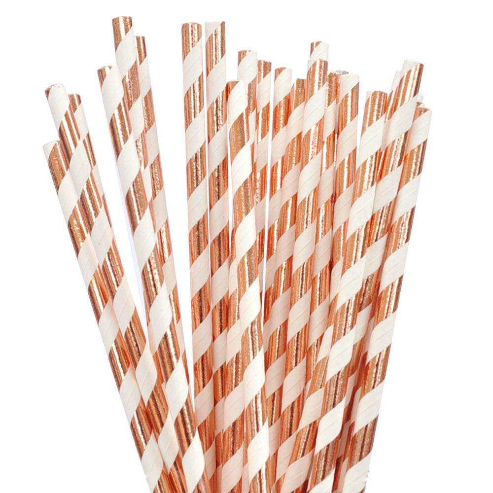Rose Gold Foil Stripe Straw - 25 Pack-Oh My Party