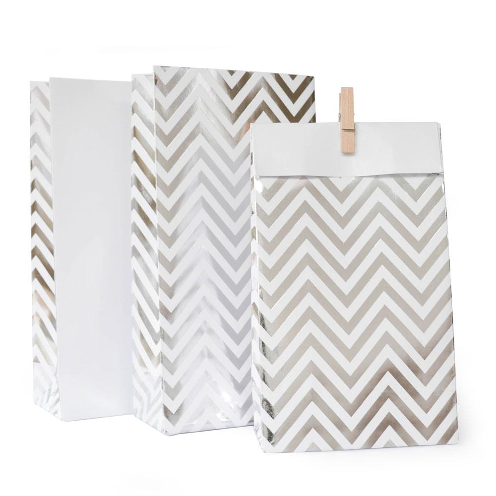 Silver Chevron Lolly Bag - 10 Pack-Oh My Party