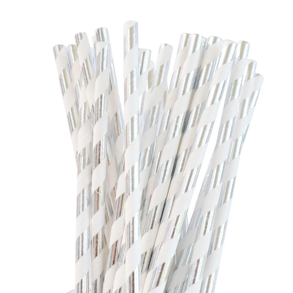 Silver Foil Striped Straw - 25 Pack-Oh My Party