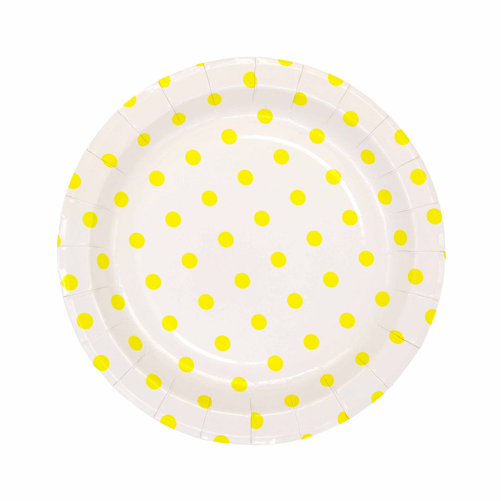 Yellow Pattern Plate - 12 Pack-Oh My Party