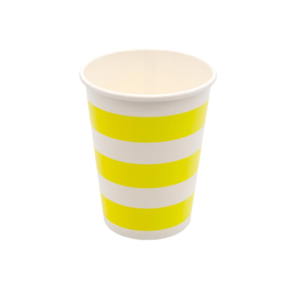 Yellow Stripe Cup - 10 Pack-Oh My Party