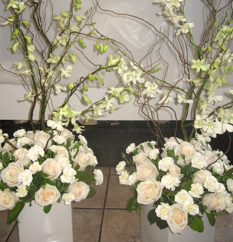 Rose and Orchid Table Arrangements