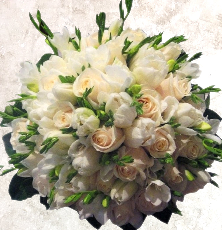 White Tulips, Cream Roses, Freesias