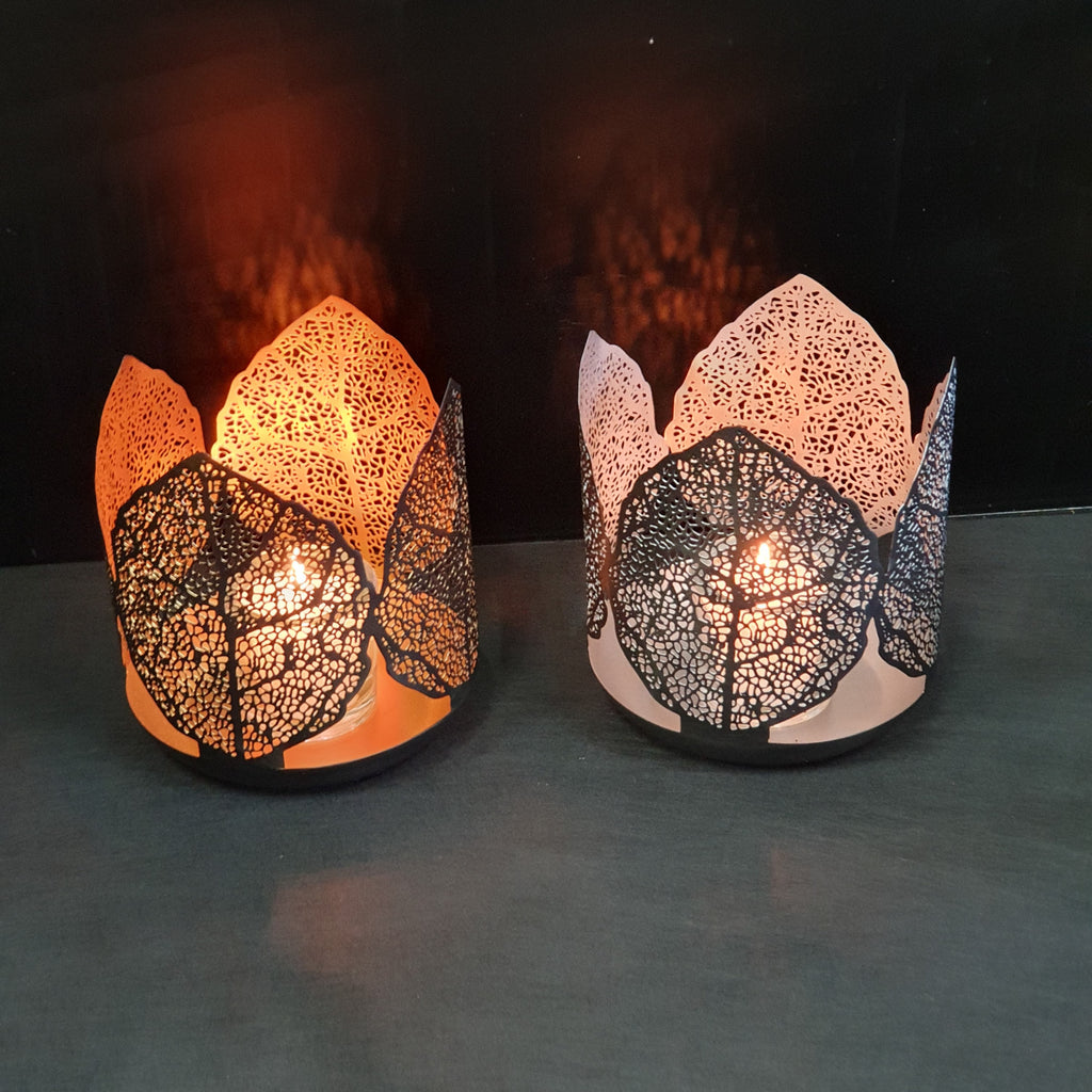 Leaf Huricane candle holder