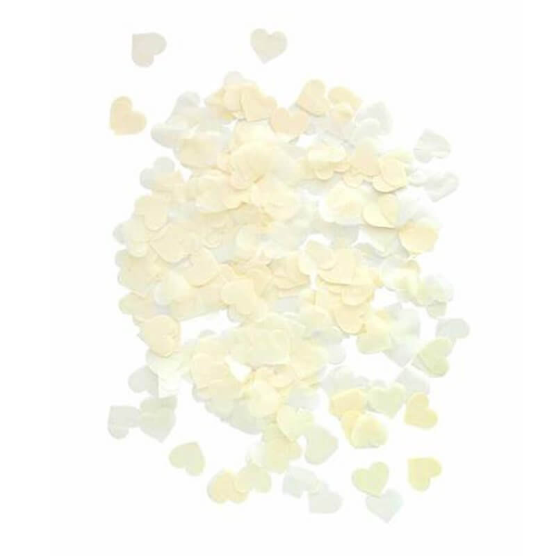 20g 1.5cm Heart Shaped Tissue Paper Confetti Table Scatters - Ivory