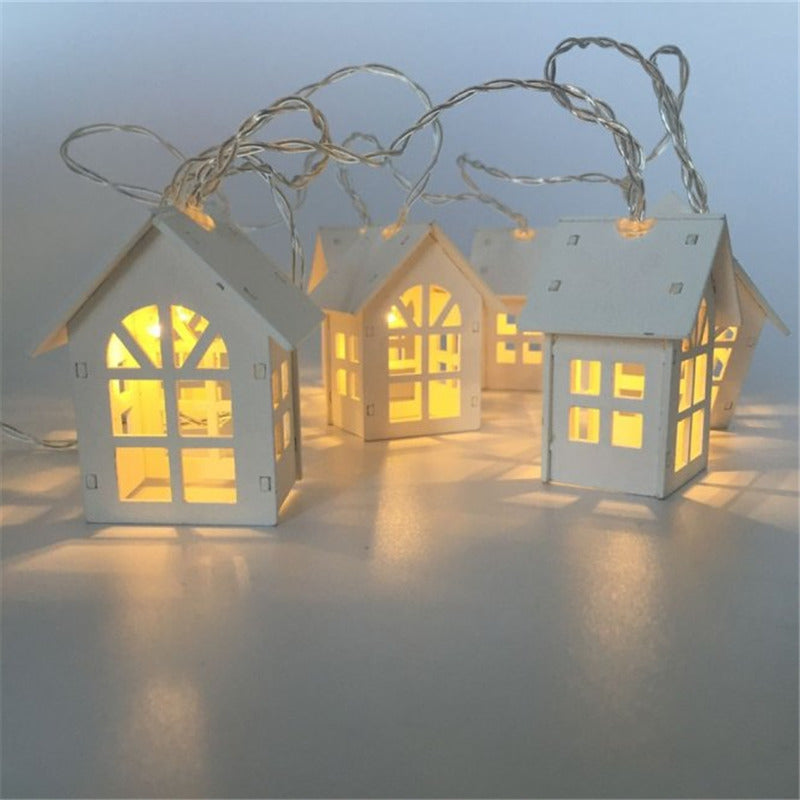 1.5m Battery Operated Wooden LED Lighthouse String Lights in Warm White - Online Party Supplies
