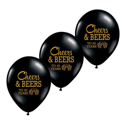 "10"" Cheers & Beers To 30 40 50 Years'' 30th 40th 50th Birthday Party Latex Balloons (10 pieces)"