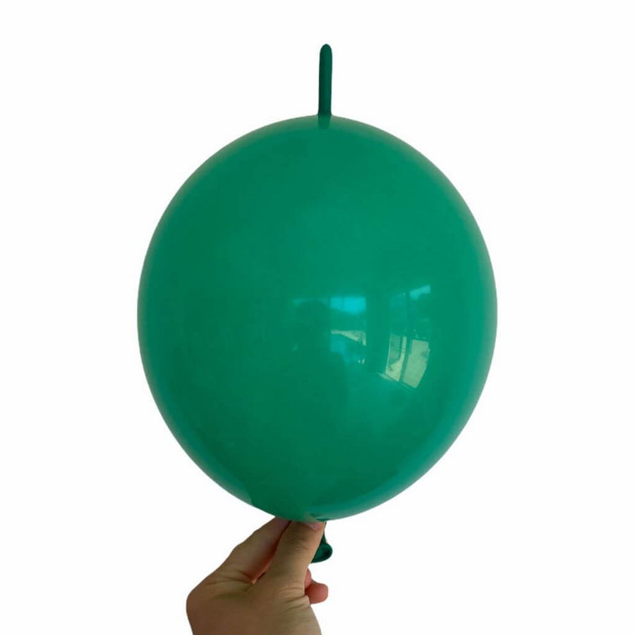 "10"" Latex Linking Tail Balloon 10 Pack - green"