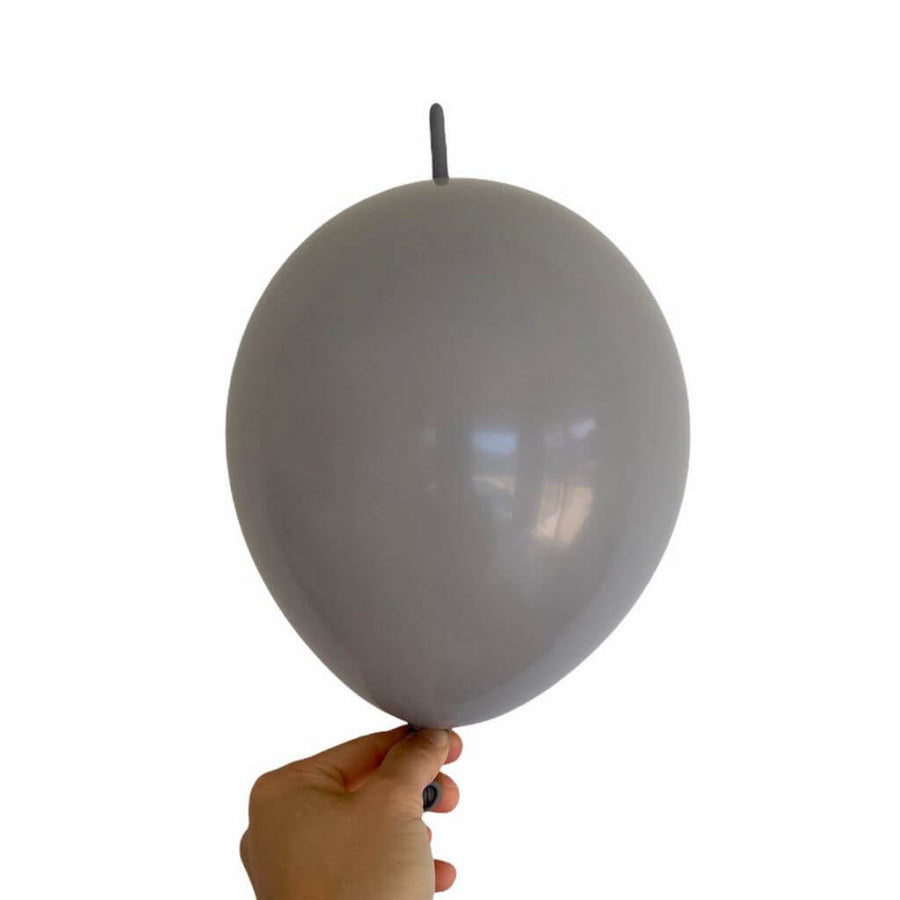 "10"" Latex Linking Tail Balloon 10 Pack - Grey"