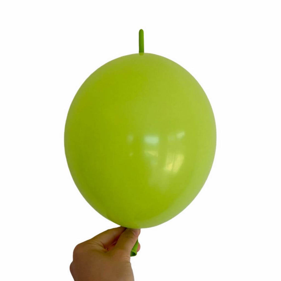 "10"" Latex Linking Tail Balloon 10 Pack - lime green"