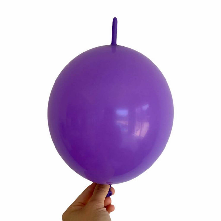 "10"" Latex Linking Tail Balloon 10 Pack - purple"