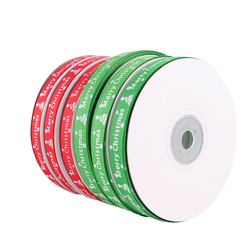 10mm x 22m Merry Christmas White Xmas Tree Red Green Grosgrain Ribbon Spool (25 Yards)