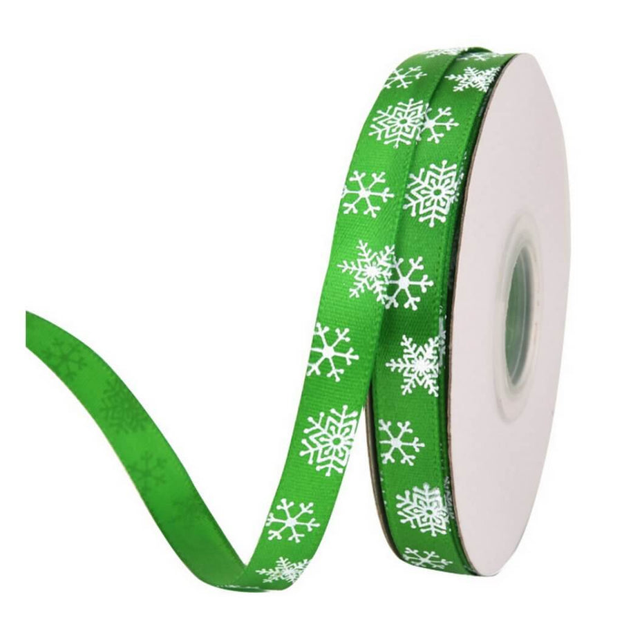 10mm x 22m Green Snowflake Printed Satin Christmas Ribbon Spool (24 Yards)