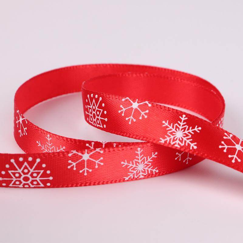 10mm x 22m Christmas Snowflake Printed Red Satin Ribbon Spool (25 Yards)