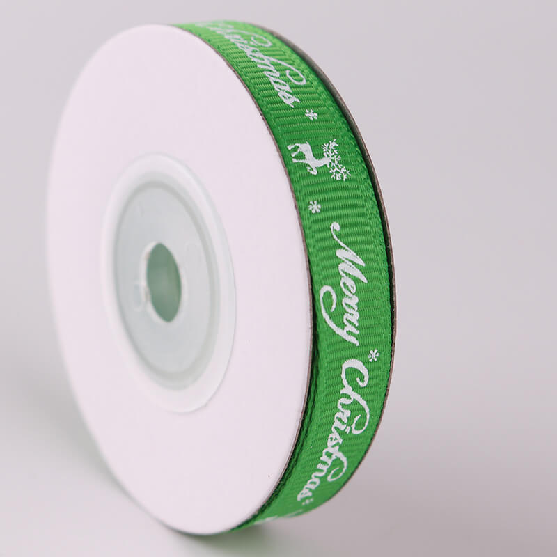 10mm x 9m Merry Christmas Reindeer Green Grosgrain Ribbon Spool (10 Yards)