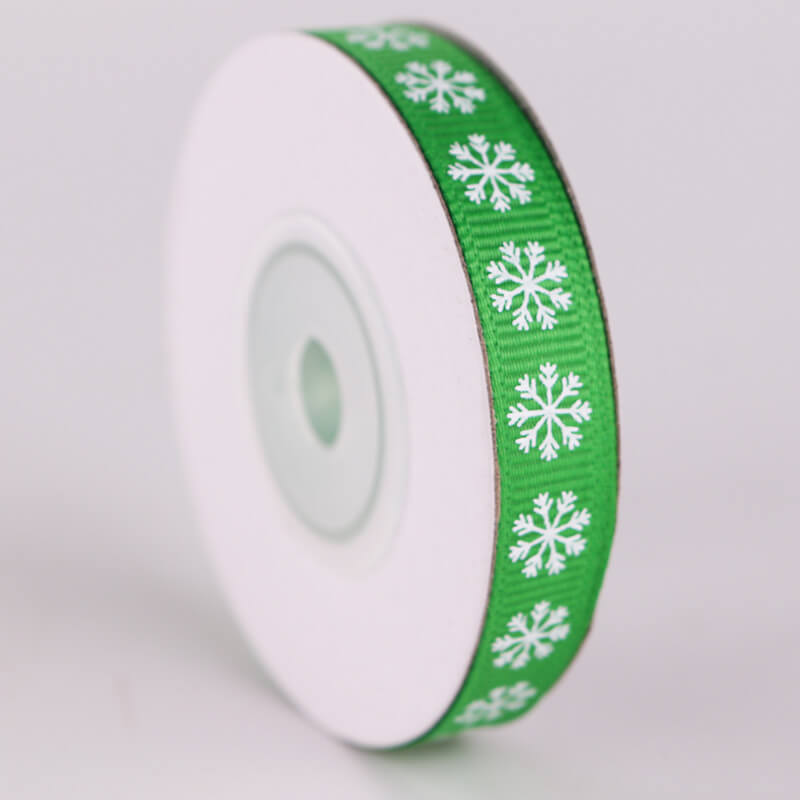 10mm x 9m Christmas Snowflake Printed Green Grosgrain Ribbon Spool (10 Yards)
