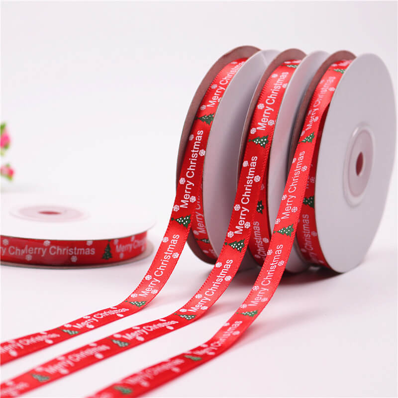 10mm x 22m Merry Christmas Green Xmas Tree Red Satin Ribbon Spool (25 Yards)