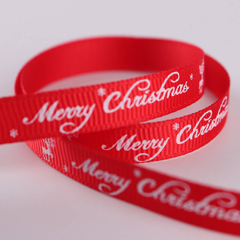 10mm x 9m Merry Christmas Reindeer Red Grosgrain Ribbon Spool (10 Yards)