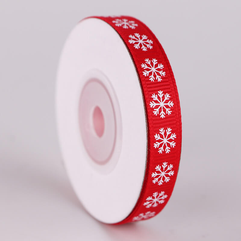 10mm x 9m Christmas Snowflake Printed Red Grosgrain Ribbon Spool (10 Yards)