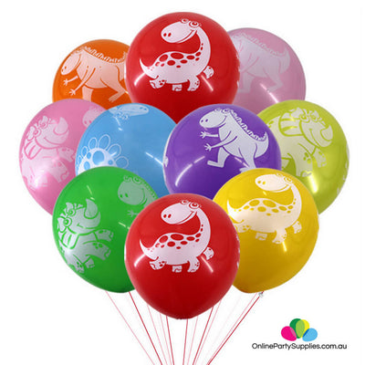 "DINOSAUR PACK OF 6 MULTI-COLOURED 12/"" ROUND LATEX BALLOONS"