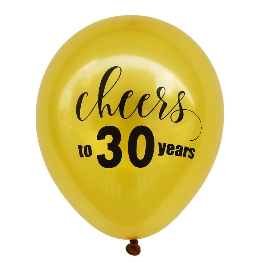 10 Inch 'Cheers To 30 Years' Gold Latex Balloons (10 pieces) - 30th Birthday Party / 30th Wedding Anniversary Decorations