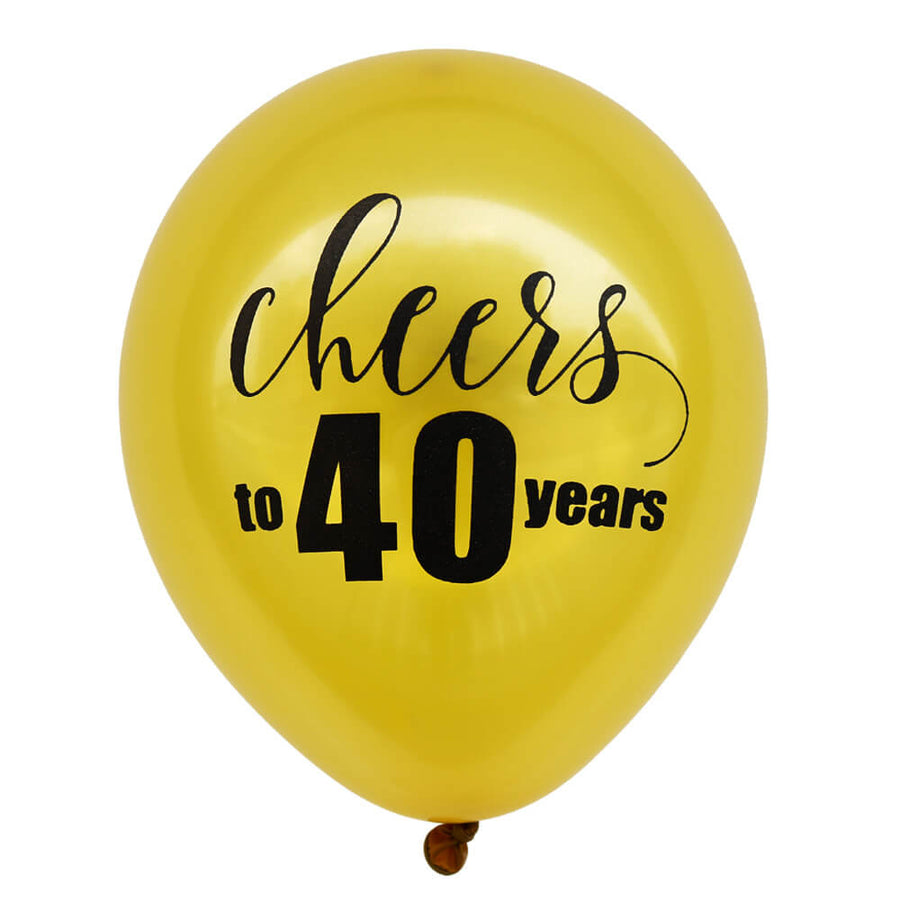 10 Inch 'Cheers To 40 Years' Gold Latex Balloons (10 pieces) - 40th Birthday Party / 40th Wedding Anniversary Decorations10 Inch 'Cheers To 40 Years' Gold Latex Balloons (10 pieces) - 40th Birthday Party / 40th Wedding Anniversary Decorations