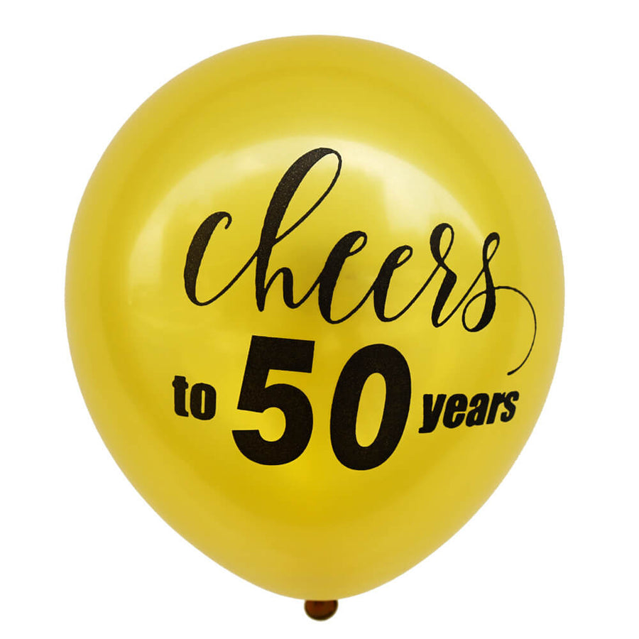 cheers to 50th year gold latex party balloons