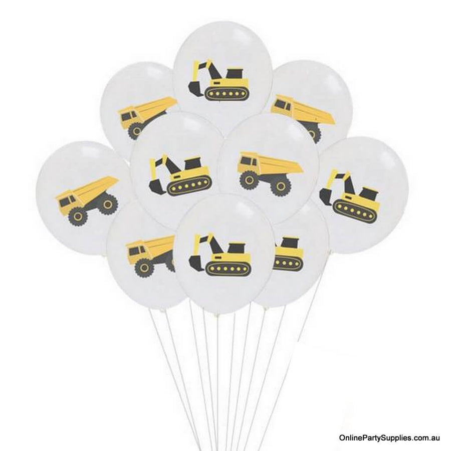 12inch Yellow Black Excavator and Dumper Truck Printed White Latex Balloon Bouquet  (Pack of 10) - Construction Themed Party Decorations