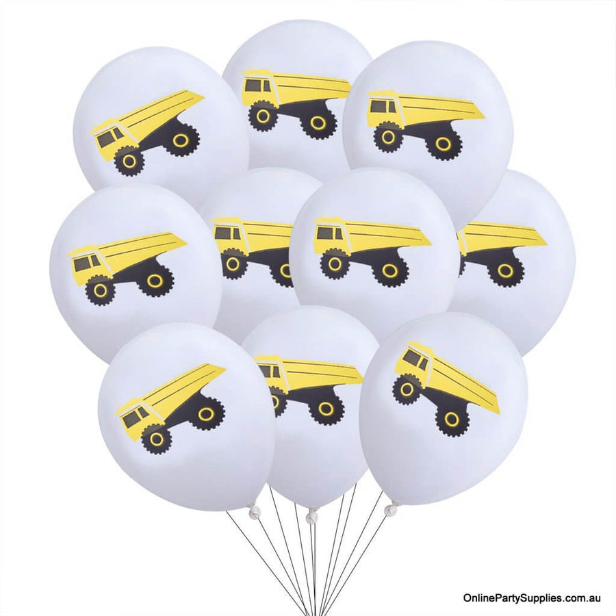 12inch Yellow Black Dumper Truck Printed White Latex Balloon Bouquet  (Pack of 10) - Construction Themed Party Decorations