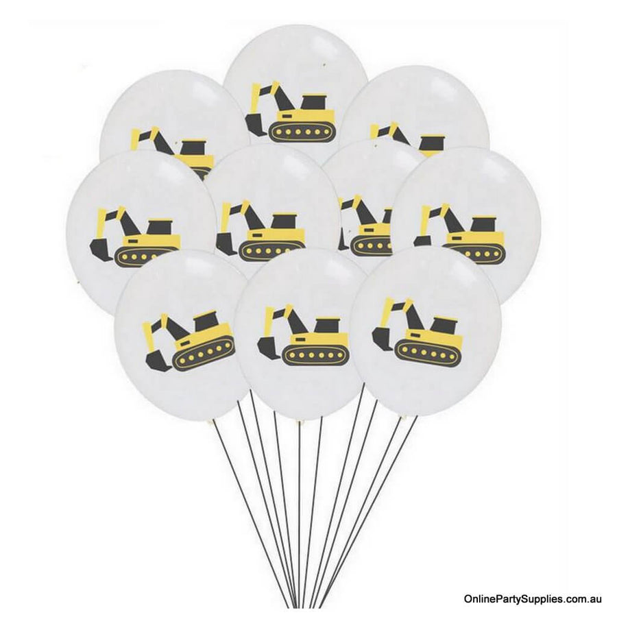 12inch Yellow Black Excavator Digger Truck Printed White Latex Balloon Bouquet  (Pack of 10) - Construction Themed Party Decoration
