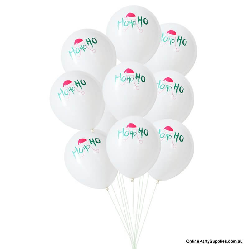 "12"" Funny White Christmas HO HO HO Latex Balloon Bouquet (10 pieces)"