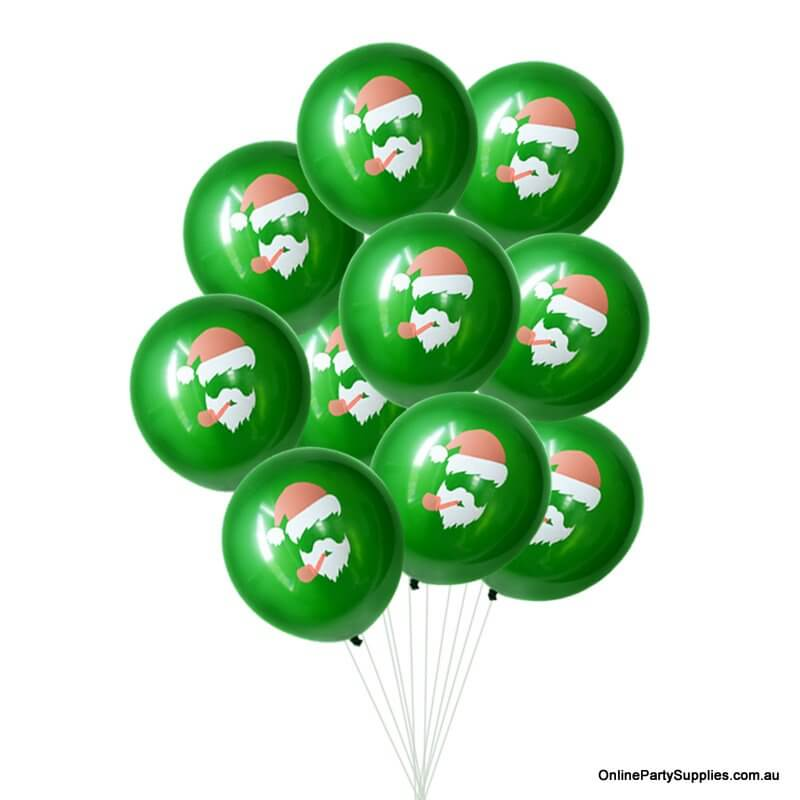 12 Inch Funny Green Christmas Santa Latex Balloon Bouquet (10 pieces) - Christmas Party Decorations