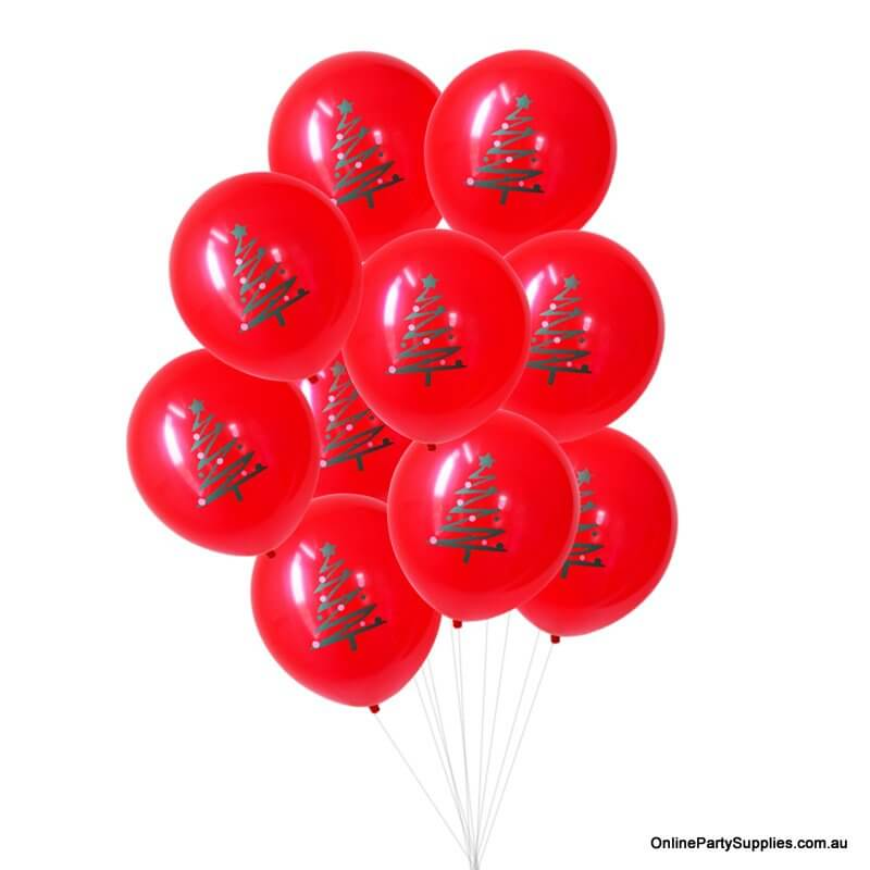 12 Inch Red Christmas Latex Balloon Bouquet (10 pieces) -Fun Naughty and Nice Christmas Party Decorations