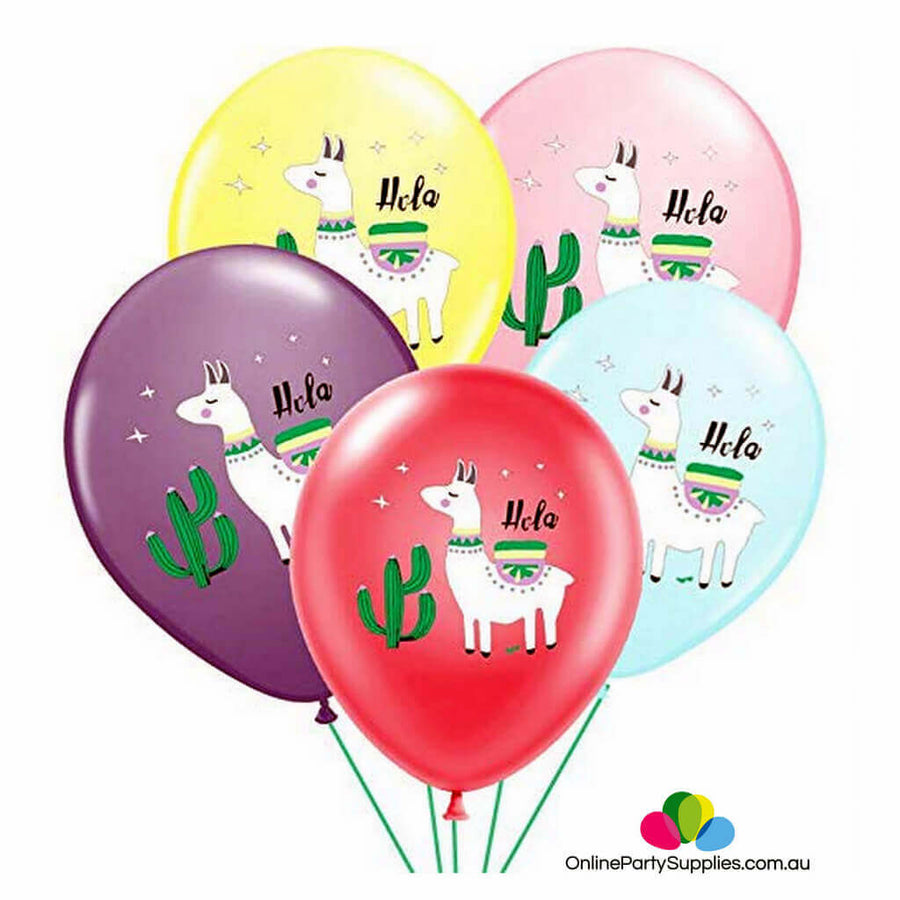 "12"" Holla White Llama Alpaca with Cactus Latex Balloons (Pack of 10)"
