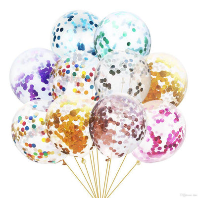 "12"" Online Party Supplies Mixed assorted colour Foil Confetti Latex Party Balloon Bouquet - 10 Pieces"