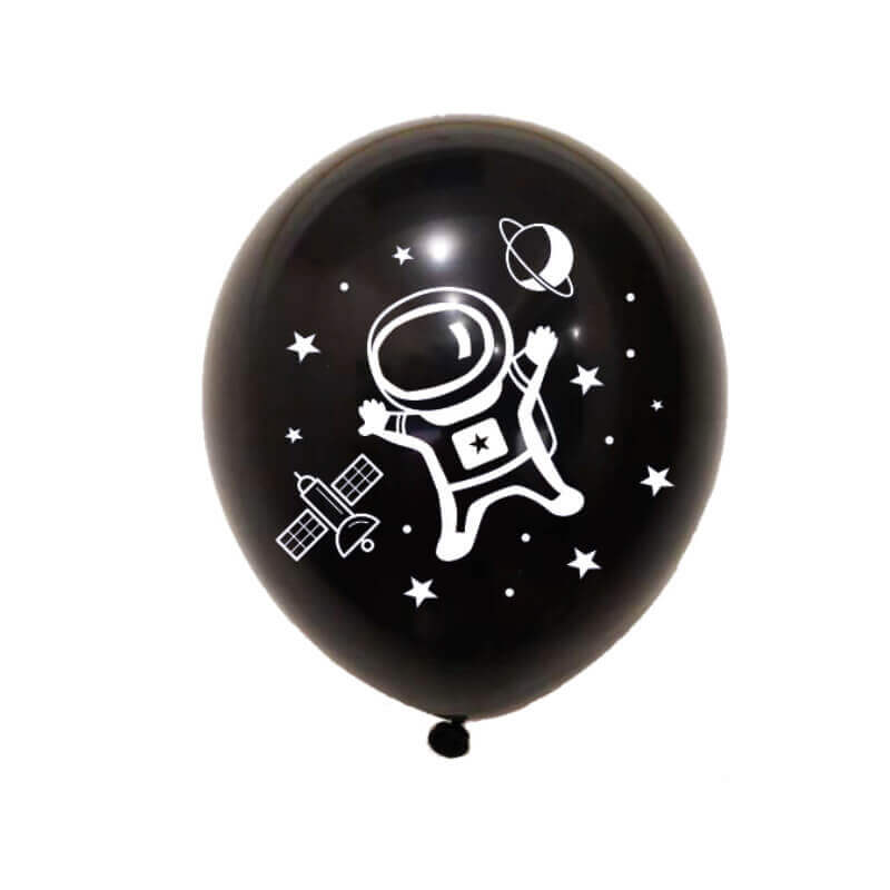 "12"" Online Party Supplies Black Astronaut Latex Balloon Bundle (Pack of 10)"